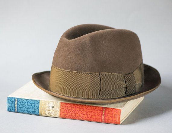 Vintage men homburg hat  brown gents hat German made  by 4Rooms