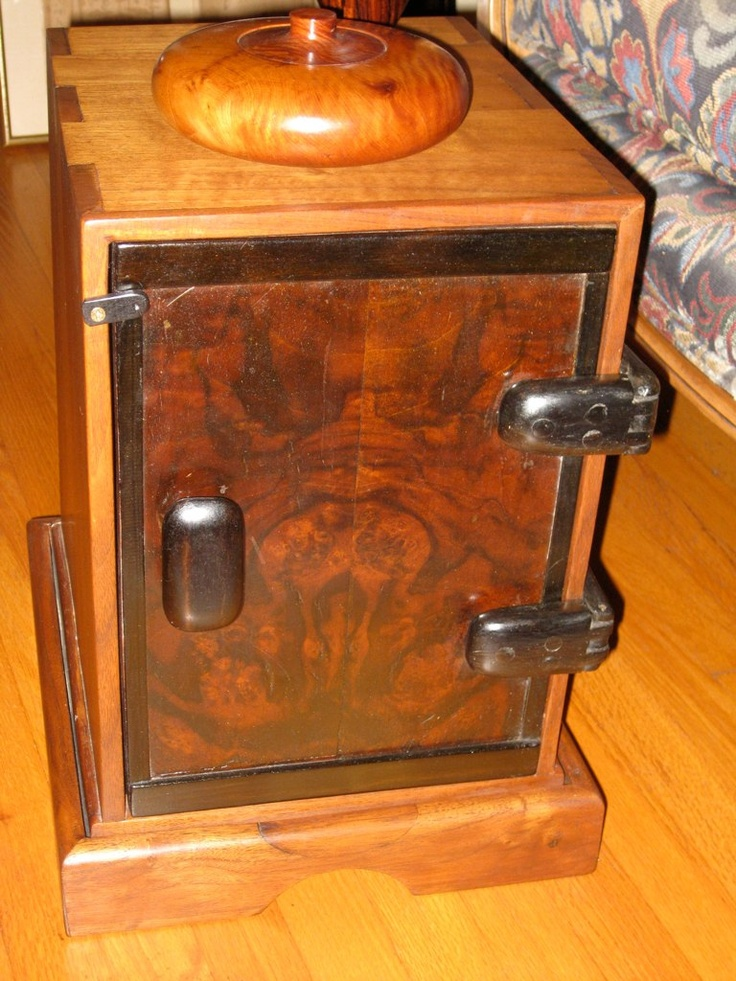 A small Japanese style tansu box with ebony hinges and many hidden compartments inside (don't tell anyone)