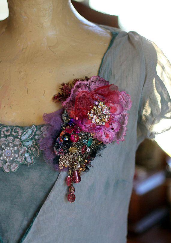 Baroque brooch opulent mixed media brooch by FleursBoheme on Etsy