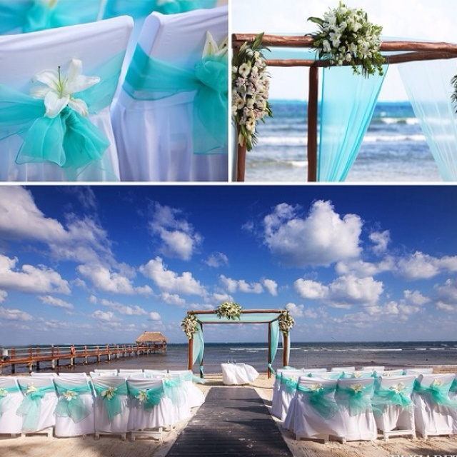 Aqua blue wedding decor this is like what we will have! :)