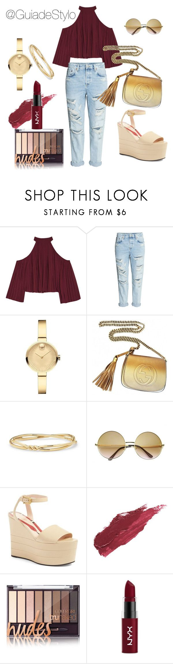 """""""Casual"""" by guiadestylo ❤ liked on Polyvore featuring W118 by Walter Baker, Movado, Gucci, David Yurman, ZeroUV, Lily Lolo and NYX"""