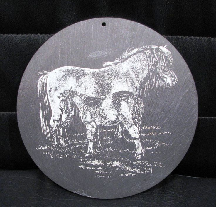 R F Fullick etching on slate titled  Horse and Foal