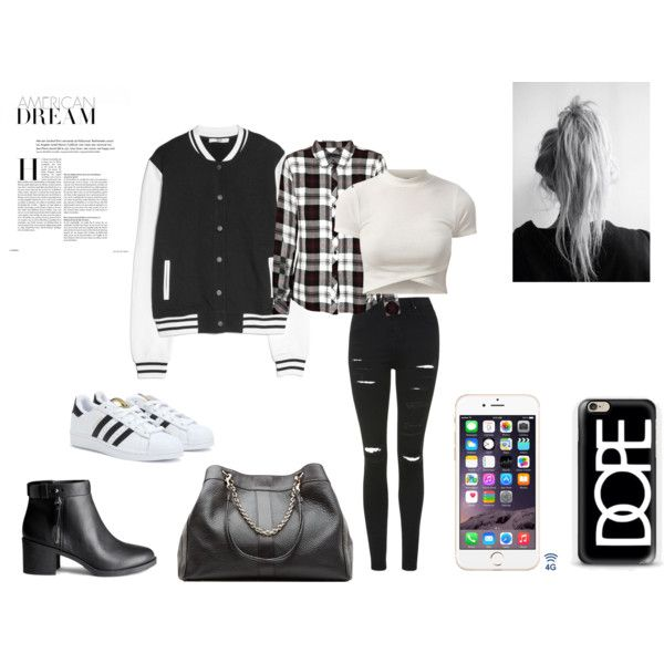 B&W by kkornehope on Polyvore featuring moda, Rails, MANGO, Topshop, adidas, H&M and See by Chloé
