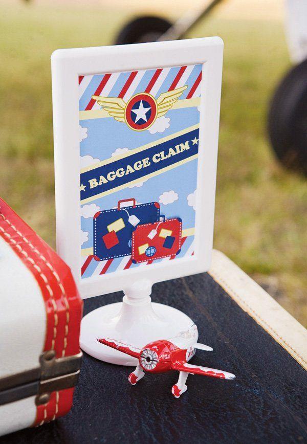 Airplane party baggage claim printable
