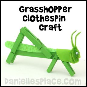 Grasshopper Craft Clothespin Craft from www.daniellesplace.com