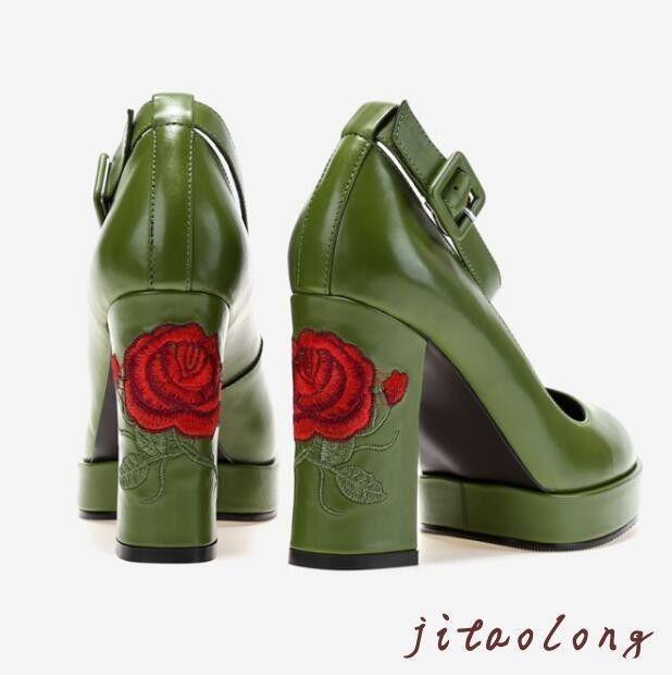 716acab9bc5a Goth Punk Lolita Mary Jane Platform Pumps Rose Chunky Heels Shoes Adult  Women Sz