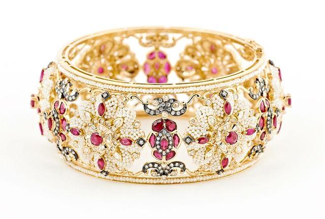Japanese Keshi pearls, diamonds, Burmese rubies in 18K gold bangle, by Moksh