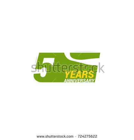 5 Years  Anniversary  Logo Celebration with negative space design. Isolated on White Background