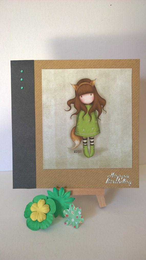 Handmade foxy girl birthday card by Lazymitts on Etsy