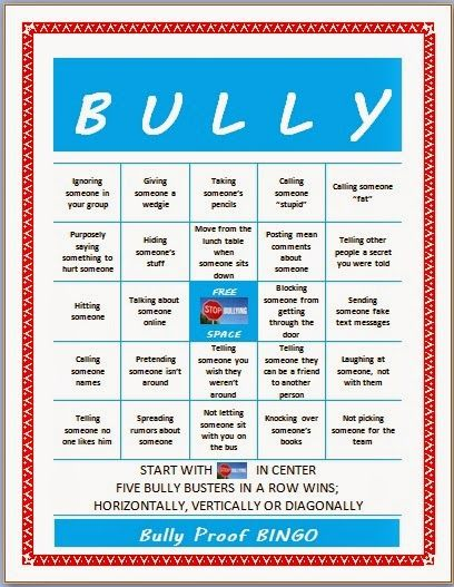 Bully Proof BINGO game