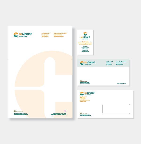 O.C. Cirkant - Huisstijl realisatie - Communicatie en reclamebureau 2design Roeselare - Grafisch ontwerp, webdesign en apps - Huisstijl - briefhoofd, visitekaartje, groetenkaart, omslag