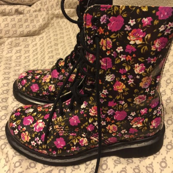 Floral patent doc martins Floral doc martins! Only worn once! Super cute Doc martins Shoes Combat & Moto Boots