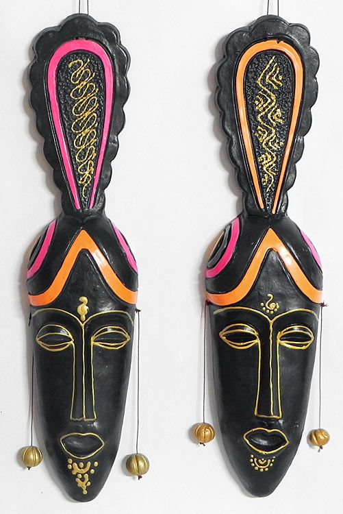 Decorative Masks of a Tribal Couple - Wall Hanging (Terracotta))