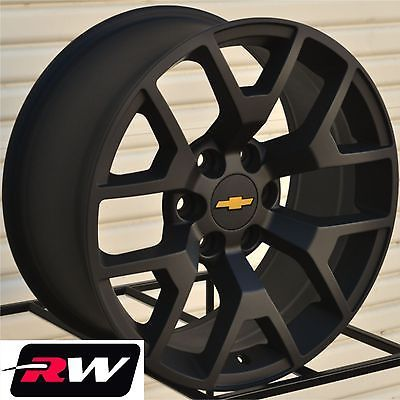 "2014 GMC Sierra Wheels Rims 22x9"" Matte Black 22"" inch fit Chevy Silverado Tahoe"