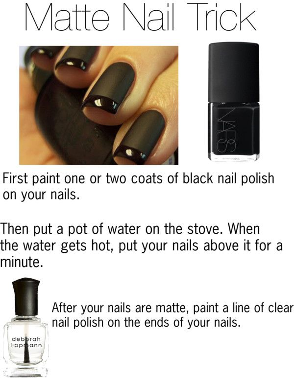 Matte Nail Trick > paint 1 or 2 coats of black nail polish. Puta a pot of water to boil on the stove and when it's hot, hold your nails above the steam for about 1 minute. Then paint a strip on the edge of your nail wth clear top coat.