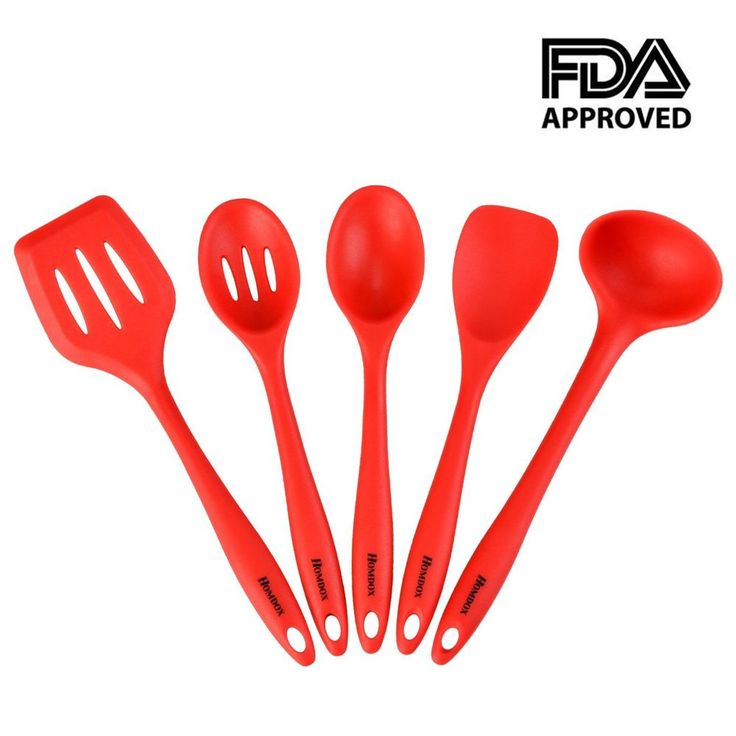 Silicone Utensil Set With Hygienic Solid Coating Heat Resistant 5 Piece Red New #Homdox