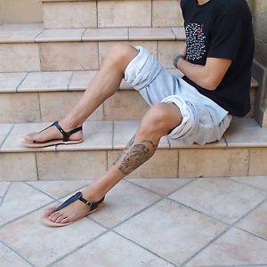 Herren schwarzes Leder Sandalen Hand gemacht Gladiator griechisch römisch | eBay