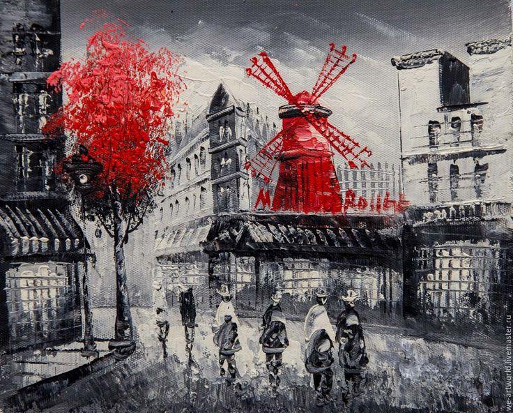"""Купить Пейзаж маслом """"Париж. Вид на Мулен Руж. N6"""" - картина в подарок, картина для интерьера"""