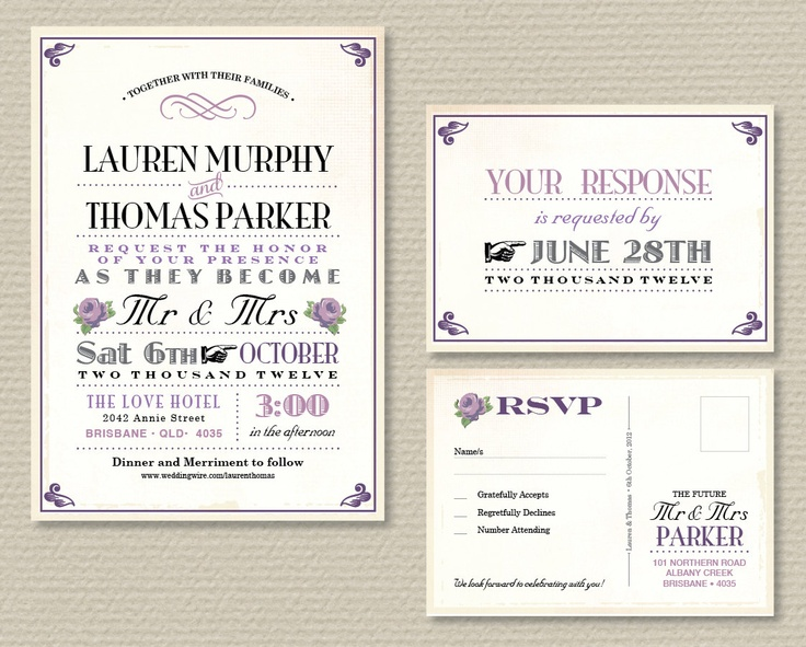 Wedding Invitations With Rsvp Postcards: Printable Wedding Invitation & RSVP