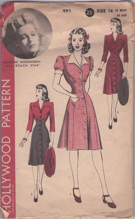 MOMSPatterns Vintage Sewing Patterns - Hollywood 991 Vintage 40's Sewing Pattern BEAUTIFUL WW2 Era Film Starlet Marjorie Woodworth in Hal Roach Star Wide Midriff High Waisted Front Buttoned Coat Dress, 2 Styles Retro Pinup Girl Size 14