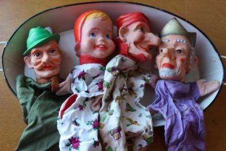 Set 13 oude poppenkastpoppen Jan Klaassen, Ome Willem, jaren '70