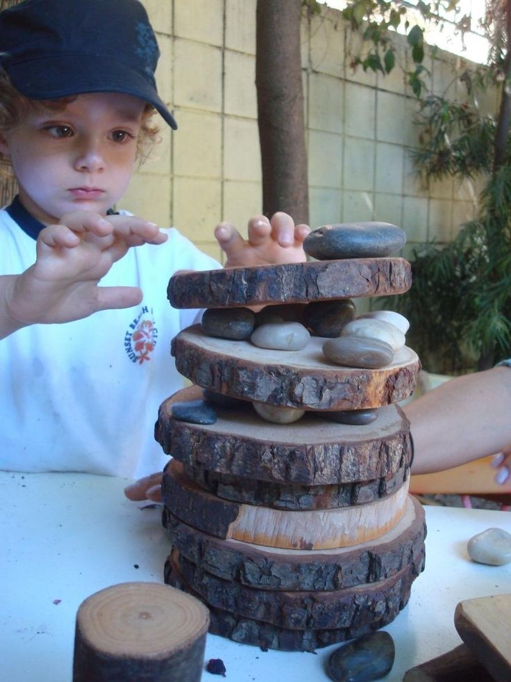 Block Center- Add natural earth-made materials. Ideas: tree blocks, tree rounds,  sticks, rocks, leaves