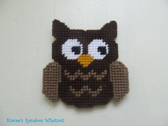 Owl Magnet - Decorative Refrigerator Magnet - Plastic Canvas Magnet - Kitchen Magnet - Custom Colors - Country Kitchen Decor - Made To Order