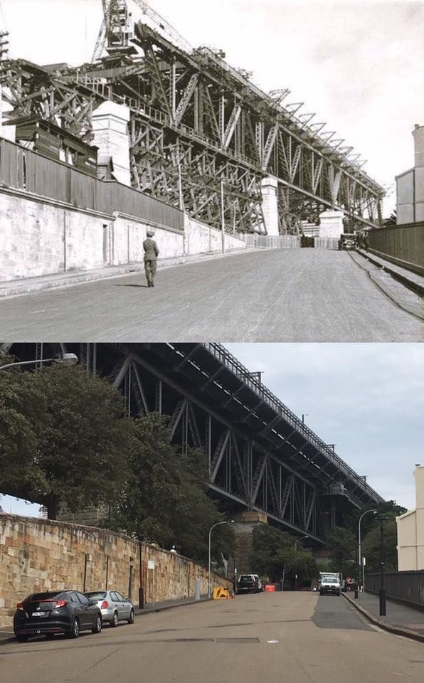 Construction of the Sydney Harbour Bridge southern approach spans viewed from George Street North, Dawes Point in 1924 and the same view of the completed spans from Lower Fort Street in 2017. [NSW State Records > Phil Harvey. By Phil Harvey]