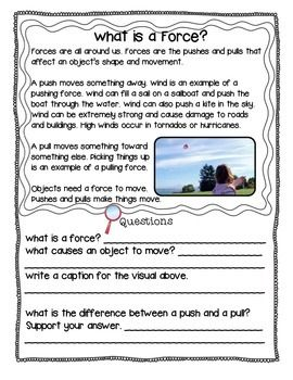Force and Motion: Science Informational Text Passages-TeachersPayTeachers.com  The integration of science into ELA is made easier with these force and motion passages and questions that address informational text standards.