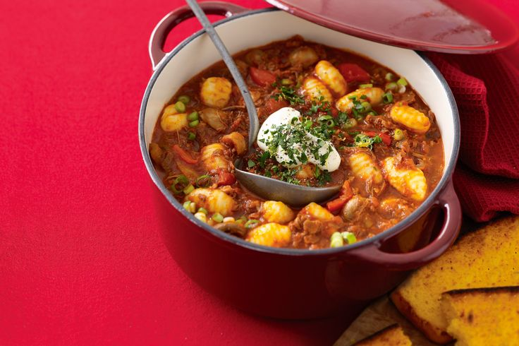 Beef hotpot is a simple way to warm up the winter. This one's hearty and full of healthy vegetables. With cornbread on the side, the whole family will be smiling.