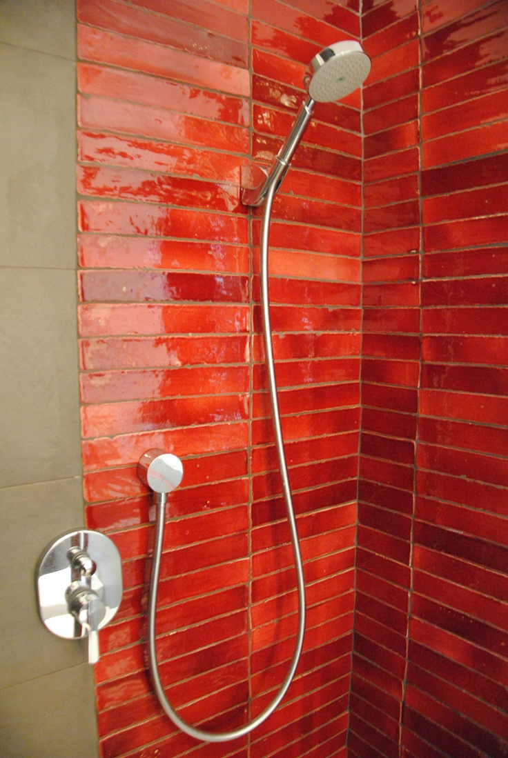 Loving the thick glaze on red terracotta tile and the unusual size of a tile