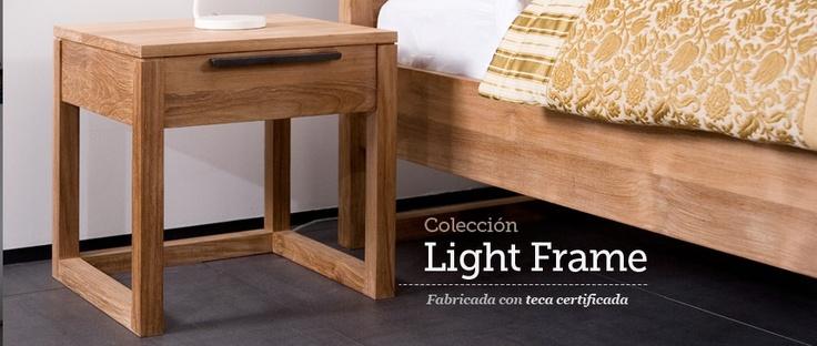 Mesita de Noche Light Frame de Ethnicraft. Mesita de noche de madera maciza de teka, sencilla, con perfectos acabados y muy ligera.