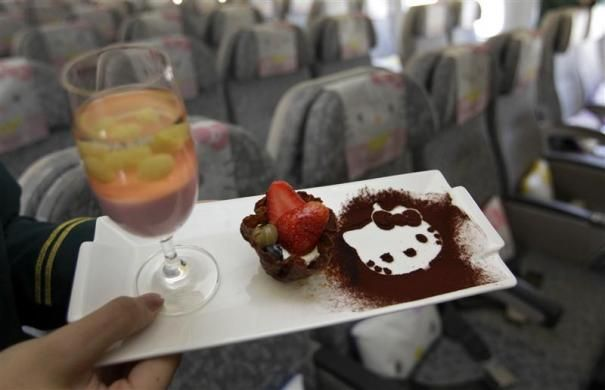 A Hello Kitty-themed in-flight dessert set is displayed inside an Eva Airlines aircraft in Taoyuan International Airport, northern Taiwan, April 30, 2012.