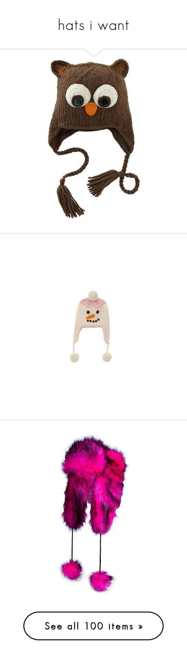 """""""hats i want"""" by jayhorror ❤ liked on Polyvore featuring accessories, hats, animals, owl, owl hat, trapper hats, animal hat, animal trapper hats, headwear and pink pom pom hat"""