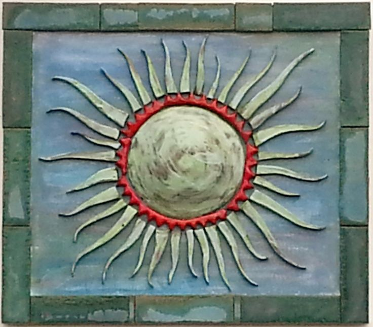 handmade ceramic sun wooden hand-painted base and ceramic frame 65 x 70 cm