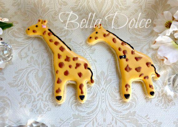 Giraffe Cookies 1 Dozen 12 cookies Birthday  by LoveBirdBakery, $42.00