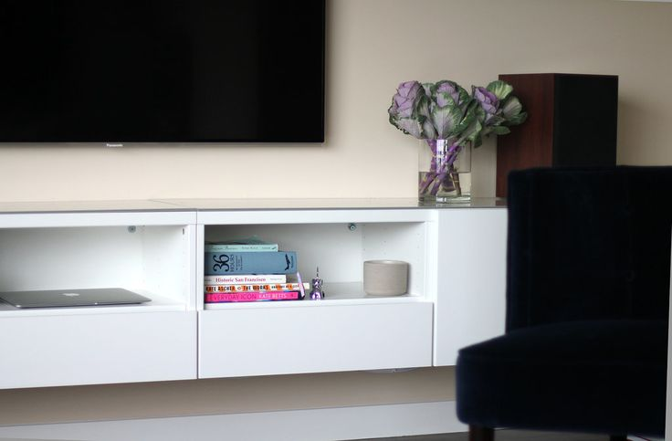 Besta from Ikea hung on the wall on the studs...left off the feet DIY Media Console | POPSUGAR Home