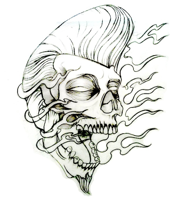 Rockabilly Rocker Skull Tattoo Flash