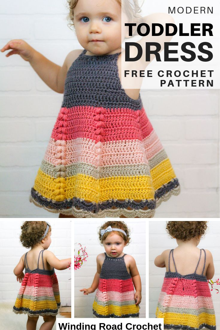 Crochet this beautiful baby toddler dress. Available in 3 sizes. Free crochet pa…
