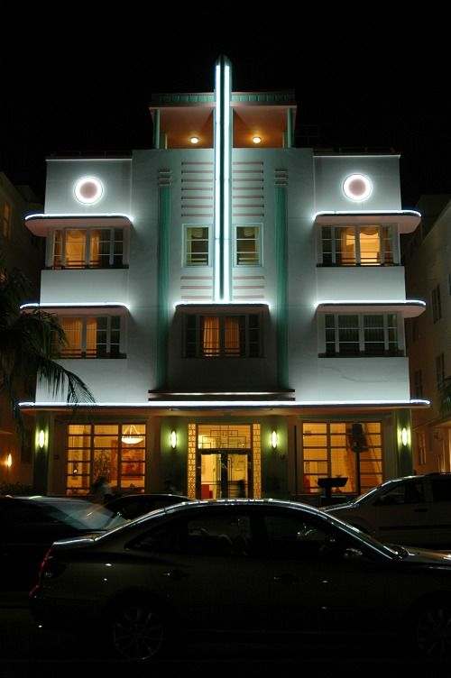 Miami's South Beach  - art deco curves--painted in tropical pastels.