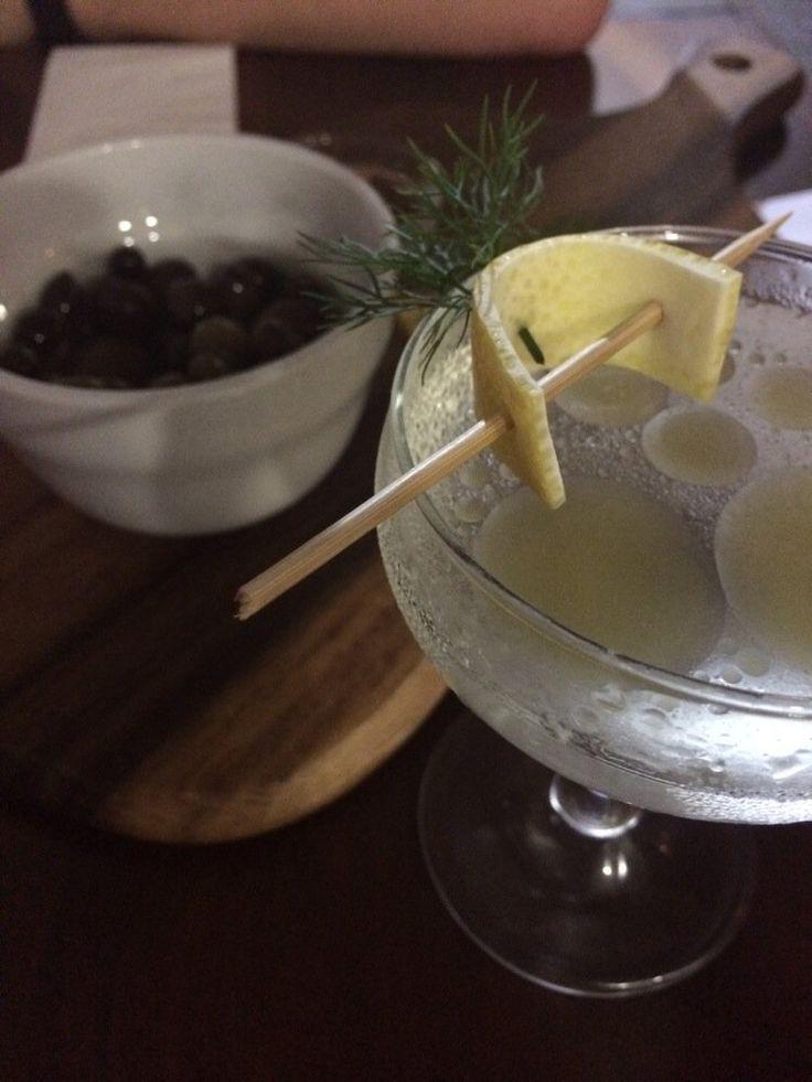 Strauss FD - Brisbane Queensland, Australia. Gin, vermouth, evoo, dill, lemon, Oliver's olives.