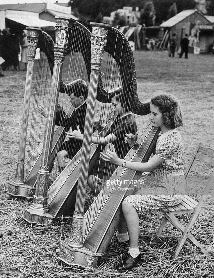 As part of the Eisteddfod Festival, in Denbeigh, (L-R) Ossian Ellis Megan Lloyd and Dona Eyton Jones compete in the under-15 Harp Solo…