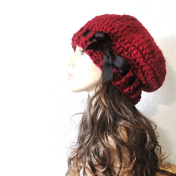 65870c093cd Items similar to School Girl Beret - Red Beret Hand Crocheted Slouchy Hat  with Black Grosgrain Ribbon.