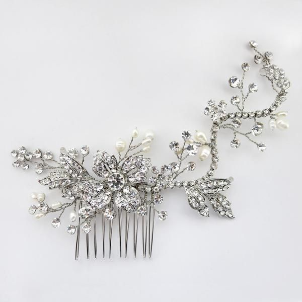 """""""The Cait"""" Floral Crystal & Freshwater Pearl Comb"""