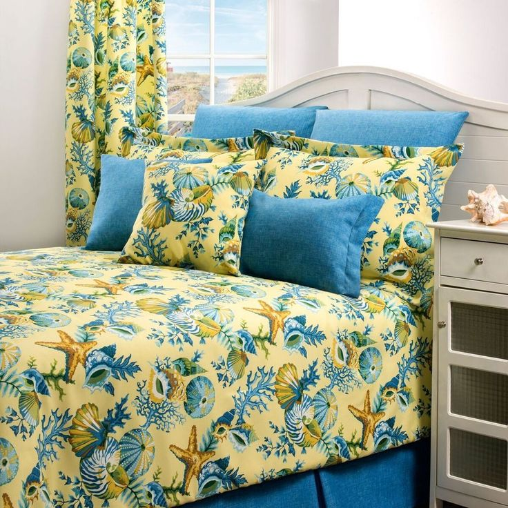 Yellow Blue Seashell Starfish Ocean Coral Beach Bedding Comforter Set 4 Pc Queen | Home & Garden, Bedding, Comforters & Sets | eBay!