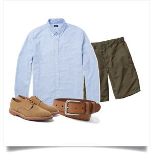 Polyvore: Light blue OCBD, olive shorts, tan leather belt, tan suede derbies.