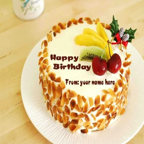 Online write your name Beautiful fruit Birthday cake pic. online wishes Happy birthday with your name. Free create fruit Birthday cake images with good name. online wishes Birthday your best friend. Beautiful fruit Birthday cake name edit and set your whats app dp and status.
