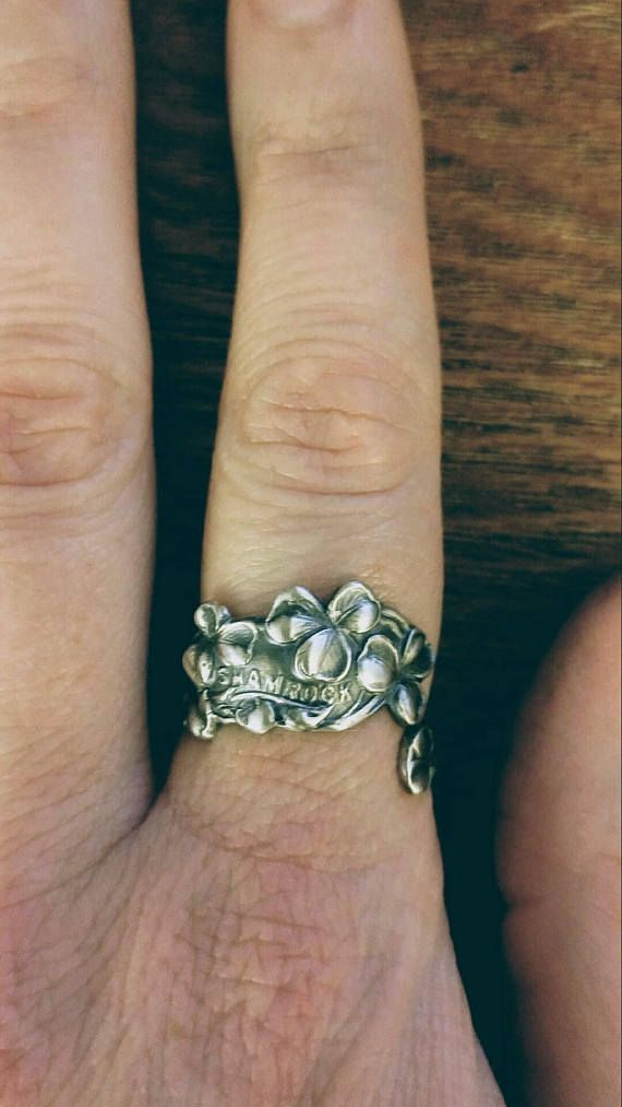 Small Good Luck 3 leaf clover ring! Petite shamrock ring made out of solid 925 sterling silver with the work Shamrock among 5 or 6 3 leaf clovers. ***The word Shamrock may be removed for free upon request after purchase*** Made of and stamped Sterling Silver, I put a brushed finish on
