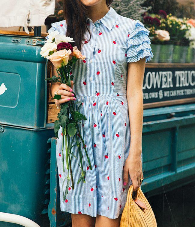 Draper James cherry dress, J.McLaughlin bag