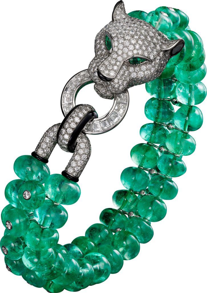 CARTIER. Bracelet - platinum, emerald beads, onyx, pear-shaped emerald eyes…